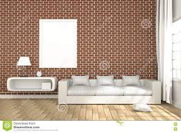red brick furniture. Unique Red Download 3D Rendering  Illustration Of Cozy Livingroom Interior With  White Book Shelf And For Red Brick Furniture