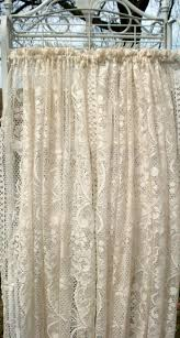 one pair vanilla color lace curtains with classic fl design x by curtainsanonymous on