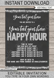 Happy Hour Invitation Template Happy Hour Invite Template Printable Happy Hour Invitation