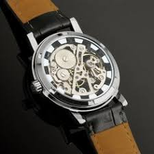 wrist watches silver and skeletons the back of the wm119 ess men s silver skeleton hand wind up mechanical watch