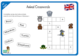 Un jeu de déduction à partir des images et des lettres déjà présentes dans la grillepour y jouer, il suffit d'imprimer notre jolie grille de mots croisés en images. J Apprends L Anglais Animal Crosswords