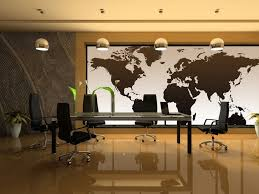 office wall decorating ideas. National Geographic Executive World Map Wall Mural For Latest Office Decorating Ideas With Chrome Pendant Light And Modern Conference Tables Designs