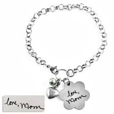 handwriting jewelry bracelets handwriting flower pendant toggle bracelet with bead heart