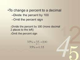 to change a percent to a decimal