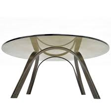 trimark bronze sculptural round glass coffee table after roger sprunger dunbar for at 1stdibs
