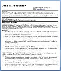 Sample Resume Account Executive Advertising