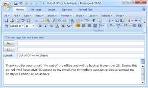 Use Email Template Outlook 2013 Set Out Of Office Auto Reply In Outlook 2003 2007 2010