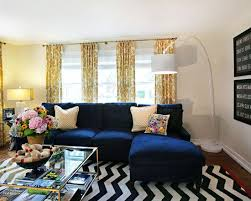 blue sofa living room. Chevron Rug, Navy Sofa, Yellow Print Curtains. More Blue Sofa Living Room Pinterest