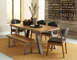 Industrial Style Camden Oak Metallic Silver Finish Wood Dining Table