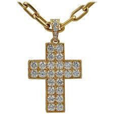 cartier diamond gold cross pendant for