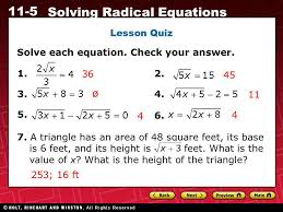 ø lesson quiz solve each equation check your answer 1 36 2