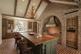 reclaimed wood houston kitchen rustic with antler chandelier arched recessed wall barrel back leather bar