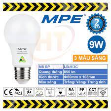 Bóng Đèn LED Bulb đổi 3 Màu 9W MPE (Trắng/ Vàng/ Trung tính)   Nông Trại  Vui Vẻ - Shop