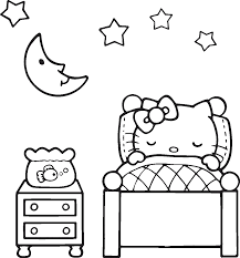 Lovely Sleeping Hello Kitty Coloring Page