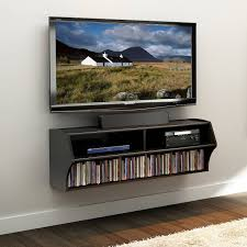 ... Wall Units, Amusing Tv Wall Console Shelf For Under Wall Mounted Tv  Black Wooden Cabinet ...