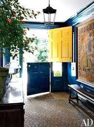 yellow and navy blue barn door