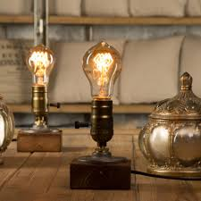 2019 Dimmer Vintage Industrial Decor Table Light Edison Bulb Wood