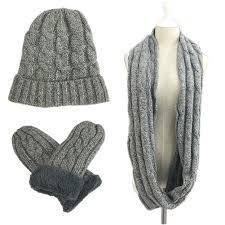 Mens Designer Hat Scarf And Gloves Set Men Knitted Hat Scarf Gloves Set Beanie Infinity Muffler
