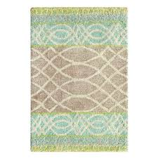 lattice swirl hand tufted aqua brown area rug by companyc companyc