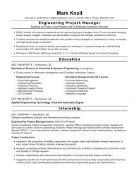 Resume Engineering Management Manager Entry Level Project Objective
