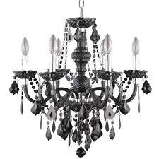 maria theresa 6 light chrome and black acrylic chandelier
