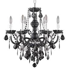 hampton bay maria theresa 6 light chrome and black acrylic chandelier