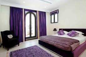 purple romantic bedrooms. Bold Purple Curtains For Glass Door Queen Sized Bed Furniture With White Bedding And Bedcover Romantic Bedrooms N