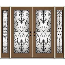 reliabilt decorative glass right hand inswing woodhaven stained fiberglass prehung double entry door with sidelights