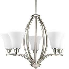 joy collection 5 light brushed nickel chandelier with etched glass shade