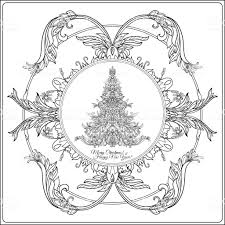 christmas drawing outline. Wonderful Christmas Decorative Christmas Tree In The Medievalstyle Frame Outline Drawing  Coloring Page Coloring In Drawing