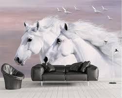 Beibehang Europese Stijl Handgeschilderde Wit Paar Paarden Vliegende