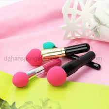 washable latex free cosmetic blender sponge makeup powder puff brush with stick