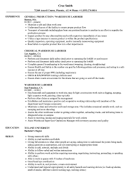 Laborer Resume Samples Warehouse General Labor Sample Objective
