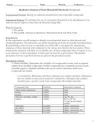 Chemistry Qualitative Analysis Flow Chart Qualitative Analysis Of Some Household Chemicals Background