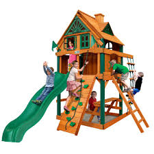 cau tower treehouse wooden playset with fort add on timber shieldposts and rock climbing wall