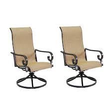 garden treasures rollinsford 2 count bronze aluminum swivel rocker patio dining chairs with brown sunbrella