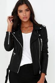 live it up black vegan leather jacket
