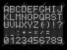 文字数字数学記号および句読点デジタル スコアボードのデジタル ドット フォント黒の背景に白文字