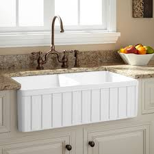 33 oldham double bowl fireclay farmhouse sink with fluted front