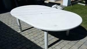 resin patio table with umbrella hole round decorative white