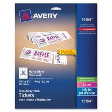 Avery Event Tickets Avery Tickets With Tear Away Stubs Matte 1 3 4 Inch X 5 1