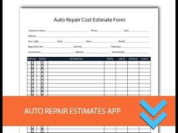 Cost Estimate Form Free Auto Repair Estimates Form Freedform Com Youtube