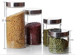 china glass food storage jar with stainless steel lids china food jar glass food packaging jar