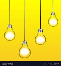 Hanging light bulbs Pendant Vectorstock Set Of Four Glowing Hanging Light Bulbs Trendy Vector Image