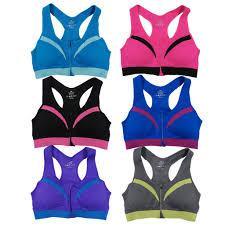 Women's Racerback Zipper Front Padded Sports Bras (6 Pack) - Overstock -  14355748