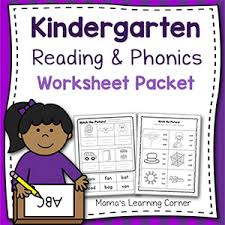 Help your beginning readers practice phonics and expand their reading vocabulary with this rhyme match worksheet. Kindergarten Reading And Phonics Worksheet Packet Mamas Learning Corner