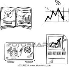 Line Chart Sketch Finance Investment And Banking Sketch Icons Clipart