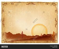 powerpoint template with old west cactus in sunset themed background and a lemonade colored
