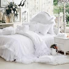 luxury white falbala for white bedding set queen