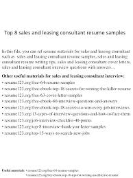 Sample Resume For Leasing Consultant Sample Leasing Consultant Resume Apartment Leasing Agent Resume